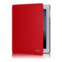 TS-Case New Croco collection - Красный кожаный чехол TS-Case New Croco для iPad 2/New iPad