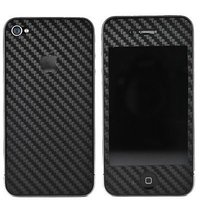 Черная карбоновая наклейка Carbon fiber Skin для iPhone 4/iPhone 4S